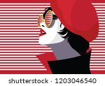 fashion woman in style pop art. ... | Shutterstock .eps vector #1203046540