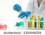 scientists do some scientific... | Shutterstock . vector #1203048256
