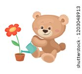 cute teddy bear with pink... | Shutterstock .eps vector #1203048913