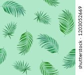 tropic palm leaf seamless...   Shutterstock . vector #1203052669