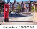 london  october  2018  a red... | Shutterstock . vector #1203055243