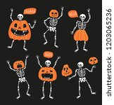 set of funny skeletons with... | Shutterstock .eps vector #1203065236