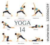 set of 8 yoga poses in flat... | Shutterstock .eps vector #1203066259
