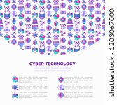 cyber technology concept with... | Shutterstock .eps vector #1203067000