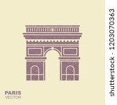 arc de triomphe  paris  france... | Shutterstock .eps vector #1203070363