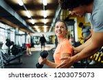young beautiful woman doing... | Shutterstock . vector #1203075073