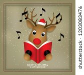 cartoon icon deer singing merry ... | Shutterstock .eps vector #1203083476