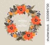 christmas wreath of fir...   Shutterstock .eps vector #1203084730