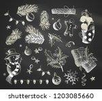 vector set of christmas design... | Shutterstock .eps vector #1203085660