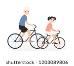 father and daughter riding... | Shutterstock .eps vector #1203089806