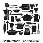bundle of glassware ... | Shutterstock .eps vector #1203089809