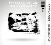 black brush stroke and...   Shutterstock .eps vector #1203091123