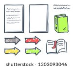 office paper and bookmark in... | Shutterstock .eps vector #1203093046
