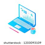single laptop on table isolated ... | Shutterstock .eps vector #1203093109