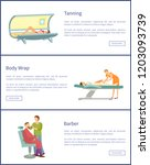 tanning  body wrap and barber... | Shutterstock .eps vector #1203093739