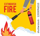 extinguisher in hands.... | Shutterstock .eps vector #1203096010