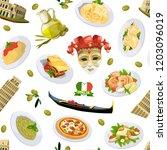 vector cartoon italian cuisine...   Shutterstock .eps vector #1203096019