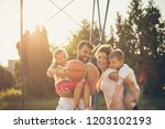 healthy and happy family.... | Shutterstock . vector #1203102193