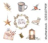 watercolor christmas set.... | Shutterstock . vector #1203107959