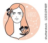 virgo girl. sketch style woman... | Shutterstock .eps vector #1203109489