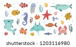 collection of cute smiling... | Shutterstock .eps vector #1203116980