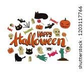 happy halloween card template... | Shutterstock .eps vector #1203117766