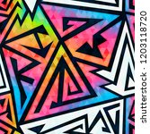 rainbow geometric seamless...   Shutterstock . vector #1203118720