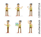 vector young adult hipster man... | Shutterstock .eps vector #1203119116