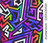 rainbow color graffiti pattern | Shutterstock . vector #1203120520