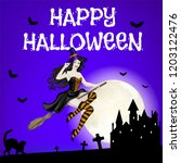 happy halloween card with... | Shutterstock . vector #1203122476