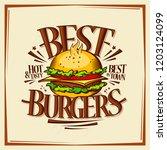 best burgers  fast food menu... | Shutterstock .eps vector #1203124099
