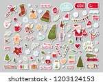 set of cute merry christmas and ... | Shutterstock .eps vector #1203124153
