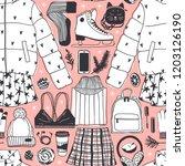 hand drawn seamless pattern... | Shutterstock .eps vector #1203126190