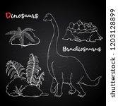vector brachiosaurus with plant ...   Shutterstock .eps vector #1203128899