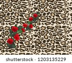 seamless pattern with  leopard... | Shutterstock .eps vector #1203135229