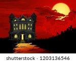 halloween background. haunted... | Shutterstock .eps vector #1203136546