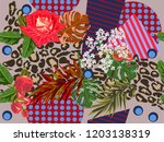 seamless floral patchwork...   Shutterstock .eps vector #1203138319