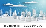 winter snow urban countryside... | Shutterstock .eps vector #1203144370