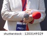 female journalist at news...   Shutterstock . vector #1203149329