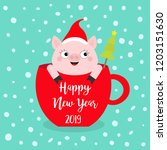 happy new year 2019. pig... | Shutterstock .eps vector #1203151630