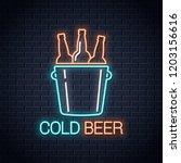 cold beer neon banner. beer...   Shutterstock .eps vector #1203156616