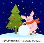 cute pig making snowball and...   Shutterstock .eps vector #1203160423
