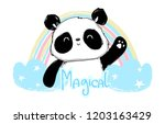 cute panda bear  vector... | Shutterstock .eps vector #1203163429