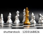 gold king chess piece face with ... | Shutterstock . vector #1203168826