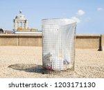 metal gridded rubbish bean on... | Shutterstock . vector #1203171130