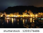 the fishing boat docked in the...   Shutterstock . vector #1203176686