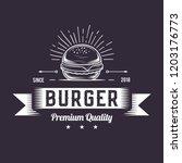 burger logo design  retro badge ... | Shutterstock .eps vector #1203176773