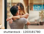 affectionate young couple... | Shutterstock . vector #1203181780