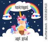 cute magical unicorn with... | Shutterstock .eps vector #1203182413