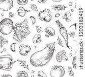 vegetable hand drawn seamless... | Shutterstock .eps vector #1203182419